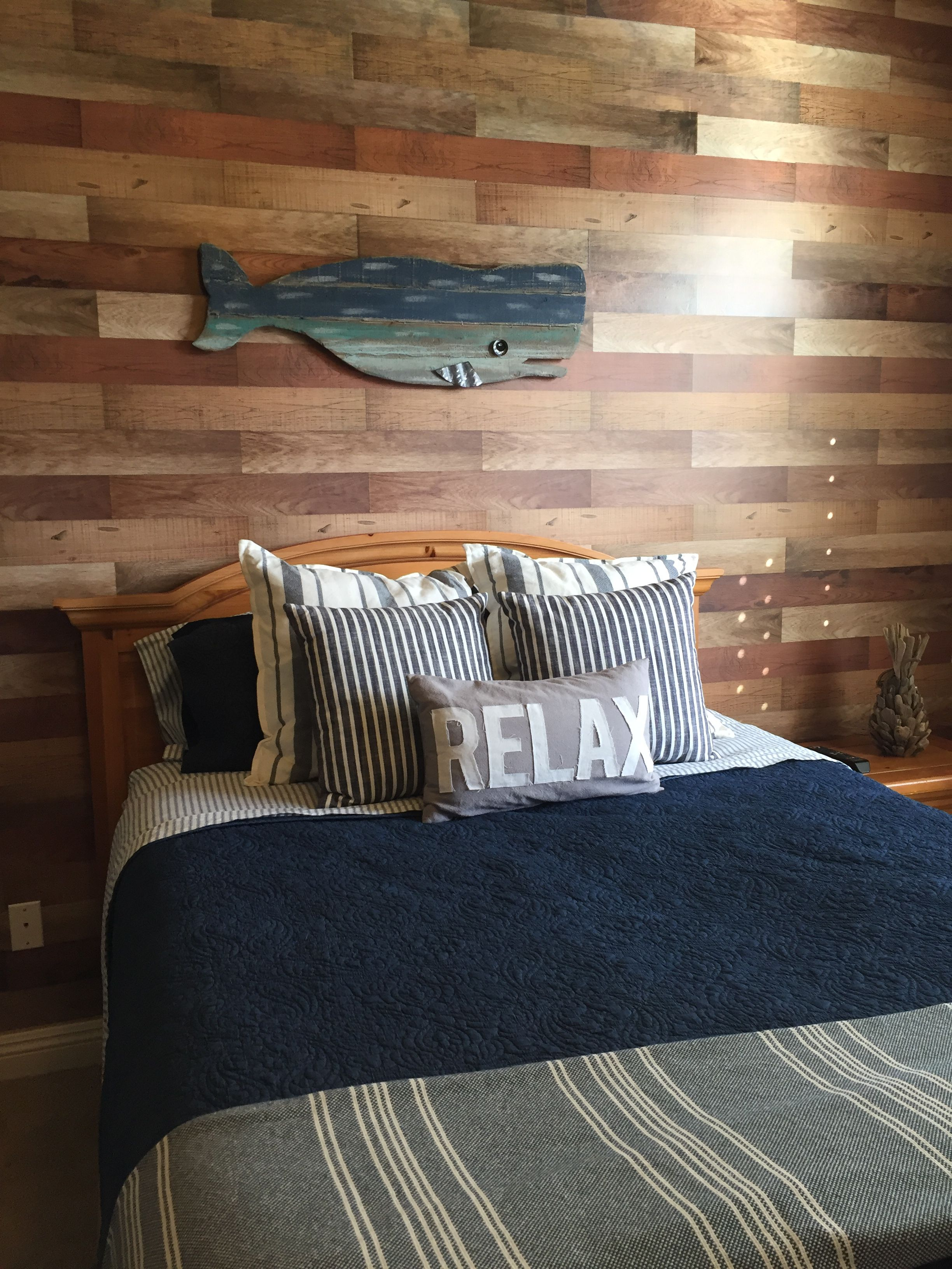 Wood Plank Accent Wall Done With Faux Wood Stickers Faux Wood Wall Home Decor Surf Decor