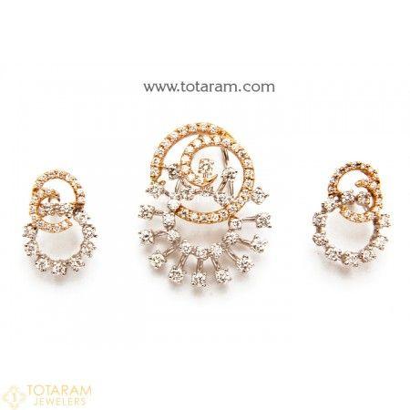 18K White Rose Gold Polish Diamond Pendant Earring Set 235