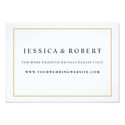 Elegant Gold Border Wedding Website Insert Card Formal wedding - formal business invitation