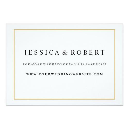 Online Wedding Invitation Websites: Elegant Gold Border Wedding Website Insert Card