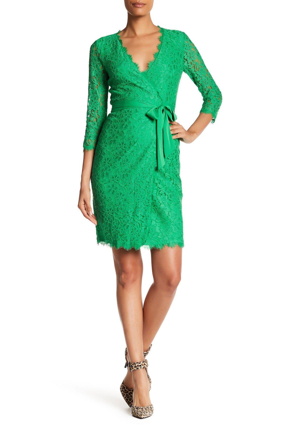 Julianna 3 4 Length Sleeve Wrap Dress By Diane Von Furstenberg On Nordstrom Rack Wrap Dress Lace Wrap Dress Dresses [ 1800 x 1200 Pixel ]