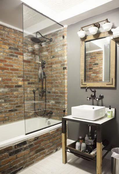 Andrew Livingstonu0027s Exposed Brick Bathroom