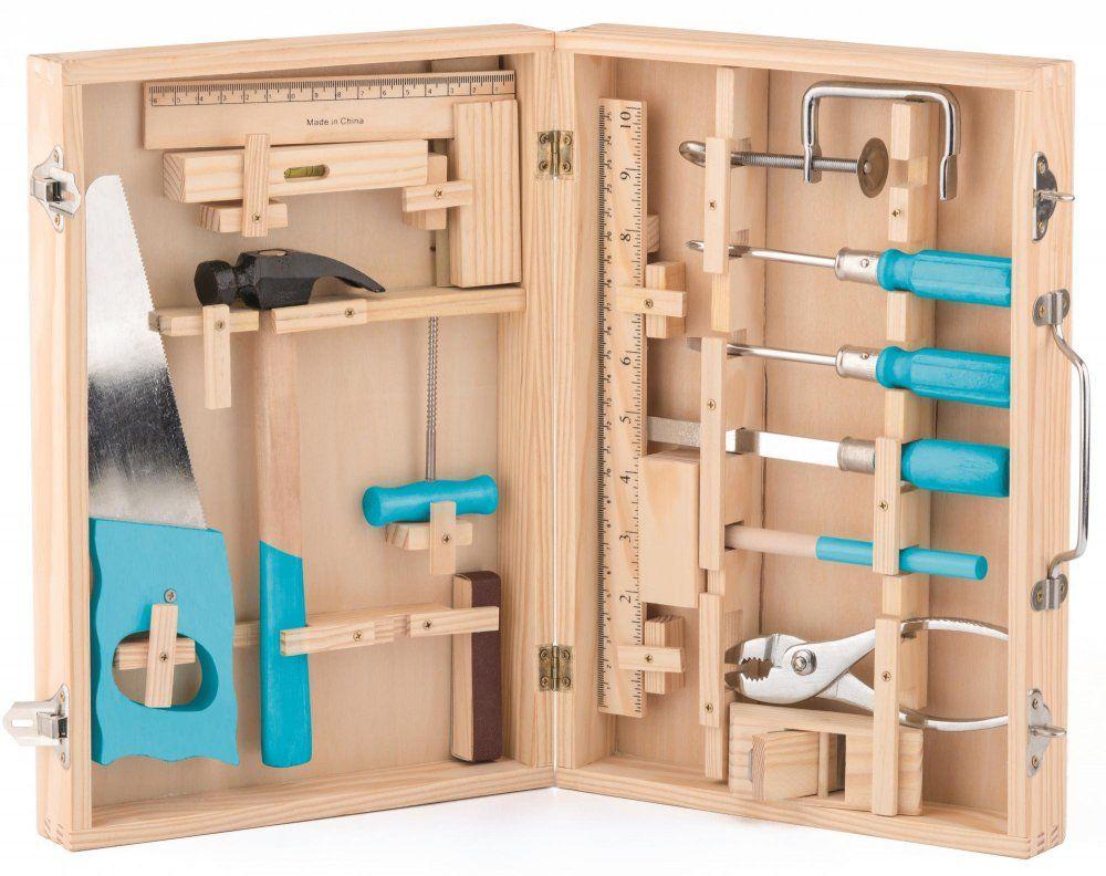 Woody Zestaw Narzedzi W Drewnianej Walizce Zabawki Narzedzia