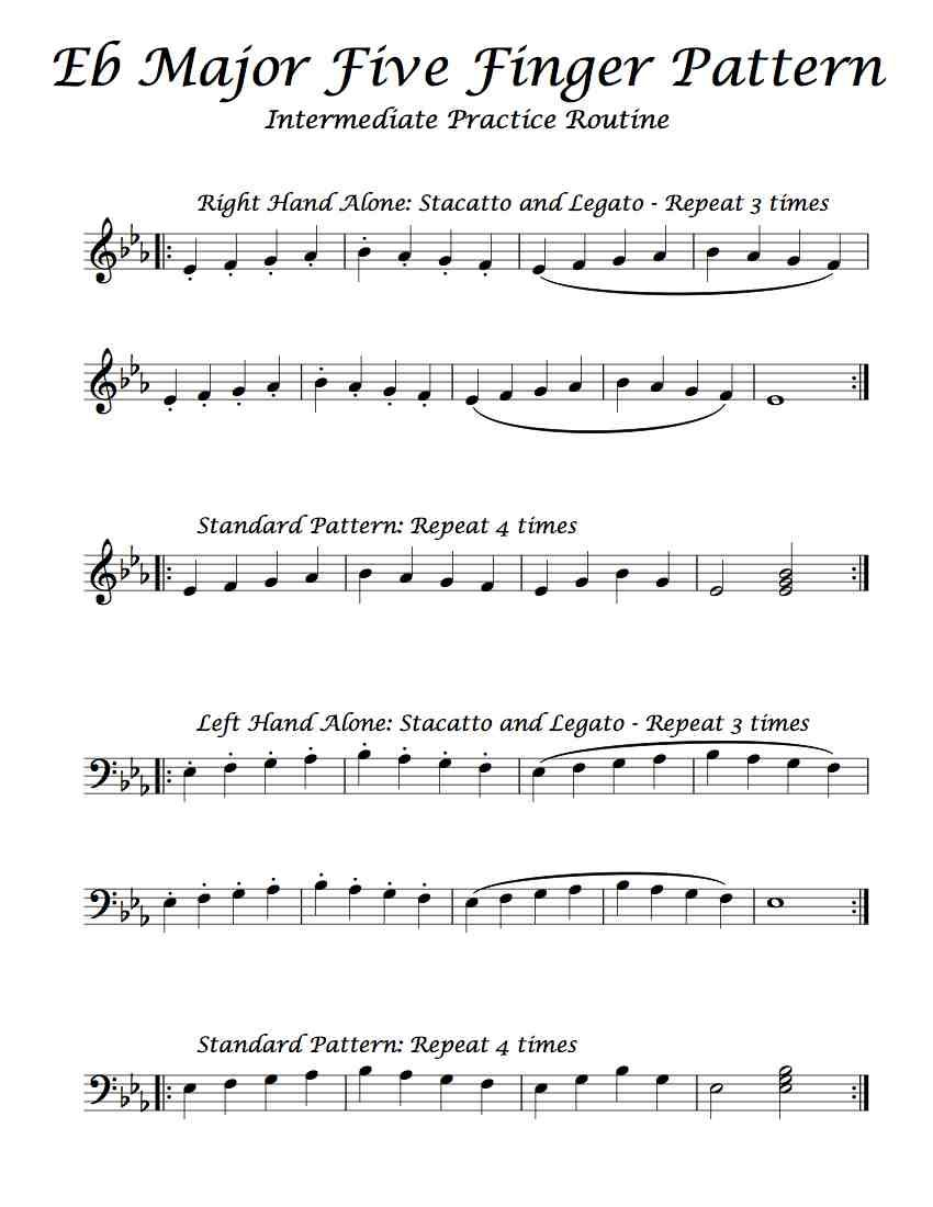 Free Sheet Music Here Is An Intermediate Practice Routine Of Eb