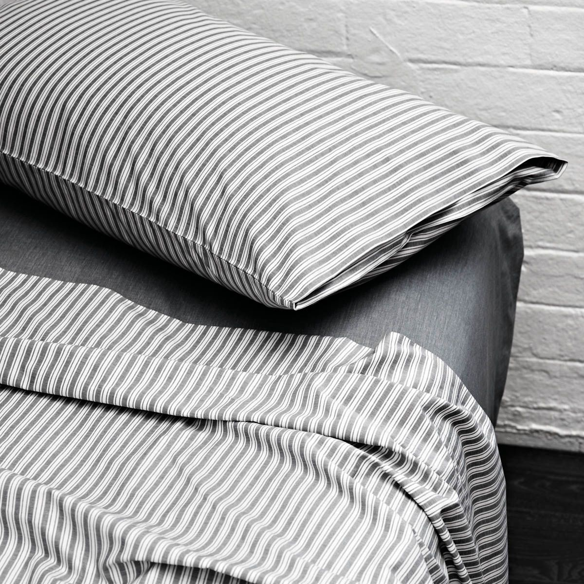 Black and white striped bed sheets - Aura Ticking Stripe Sheets Smoke