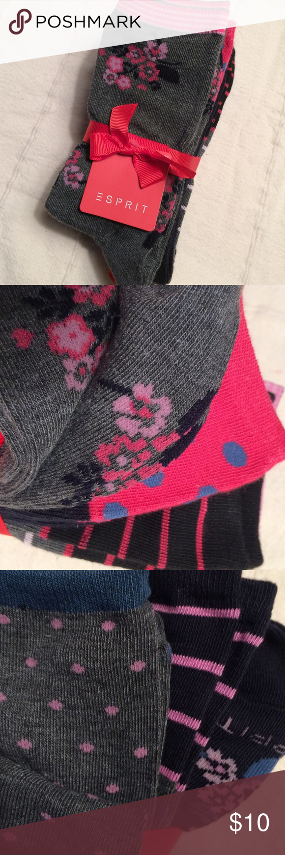 """Espirit Socks Pretty stack of 8 pairs of socks!  Polyester/spandex, 4 gray and 2 navy patterned. A """"footful"""" of stripes/flowers/polka dots! Shoe size 4-10. Sock size 9-11. Esprit Other"""