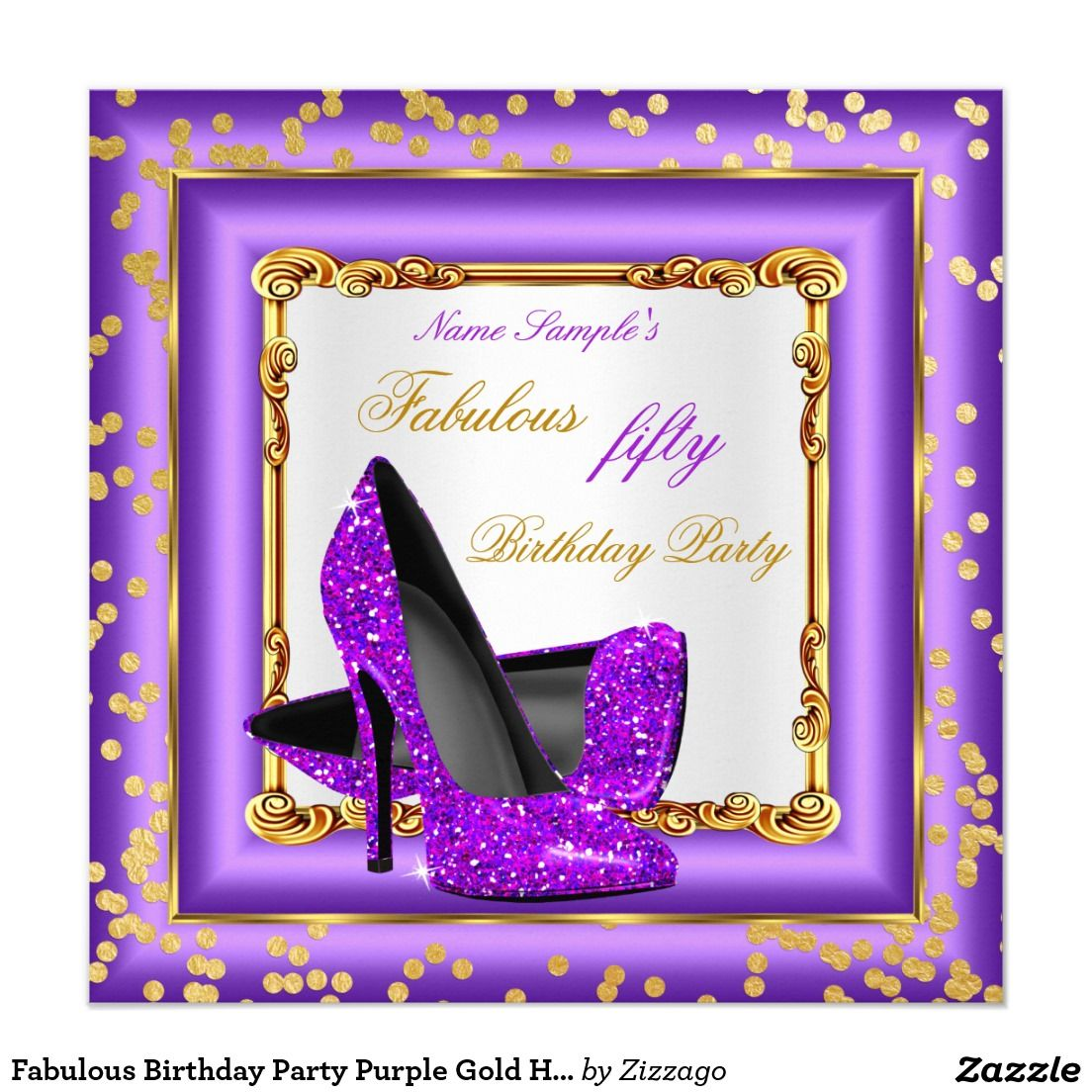 Fabulous Birthday Party Purple Gold High Heels Card Purple gold