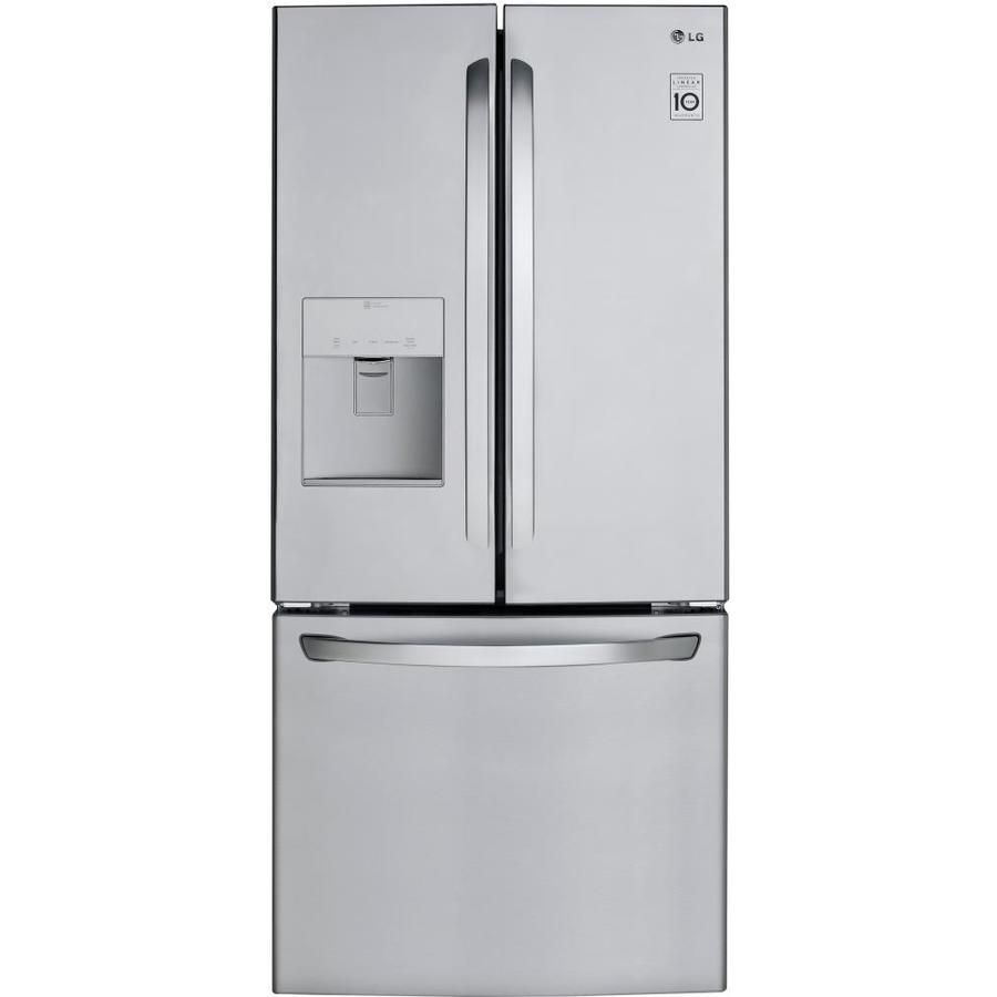 Lg 21 8 Cu Ft French Door Refrigerator With Ice Maker Stainless Steel Energy Star Lowes Com French Door Refrigerator Lg French Door Refrigerator Stainless Steel Refrigerator