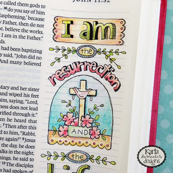 This COLOR YOUR OWN Easter Bible Verse Bookmark Collection was originally hand drawn directly in my ESV Journaling Bible... then inked with Micron