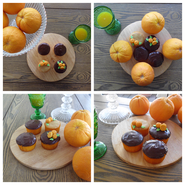 Cupcakes de naranja. Orange Cupcakes. Topper de naranjas en fondant. Oranges fondant Toppers. Cupcakes y zumo de naranja de merienda