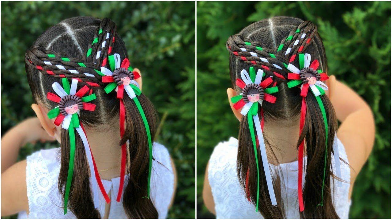 Peinado Con Trenzas Para Las Fiestas Patrias De Mexico Lph Youtube Peinados Para Ninas Peinados Con Trenzas Trenzas Con Listones