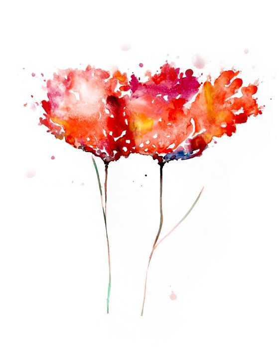 Watercolor Flower Abstract Painting Giclee Art Print By ZarStudio 2000