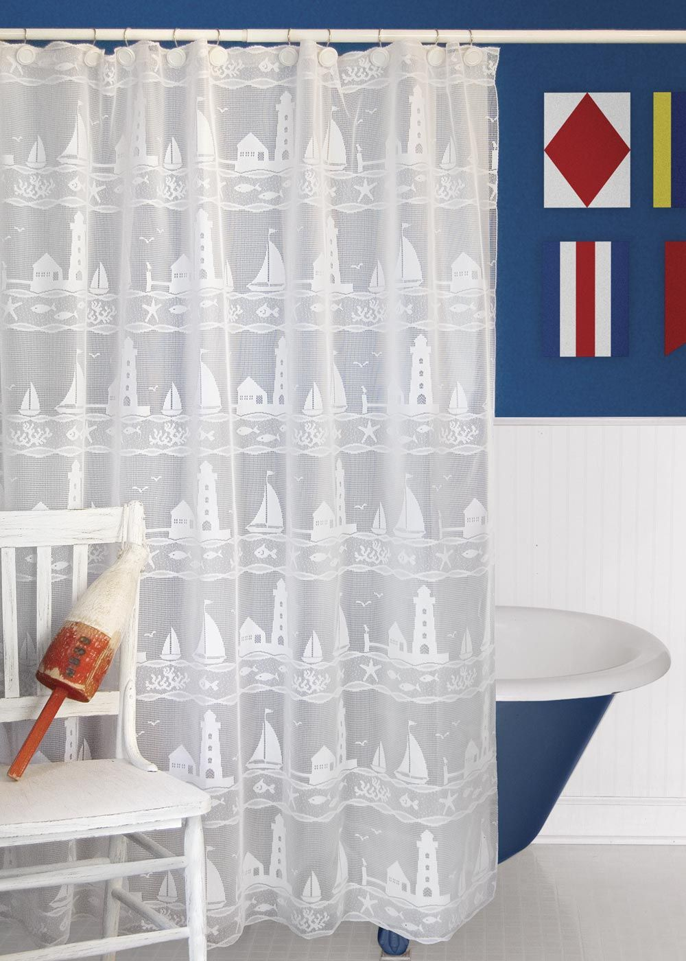 Transport Your Bathroom Seaside With The Sailboats Lighthouses