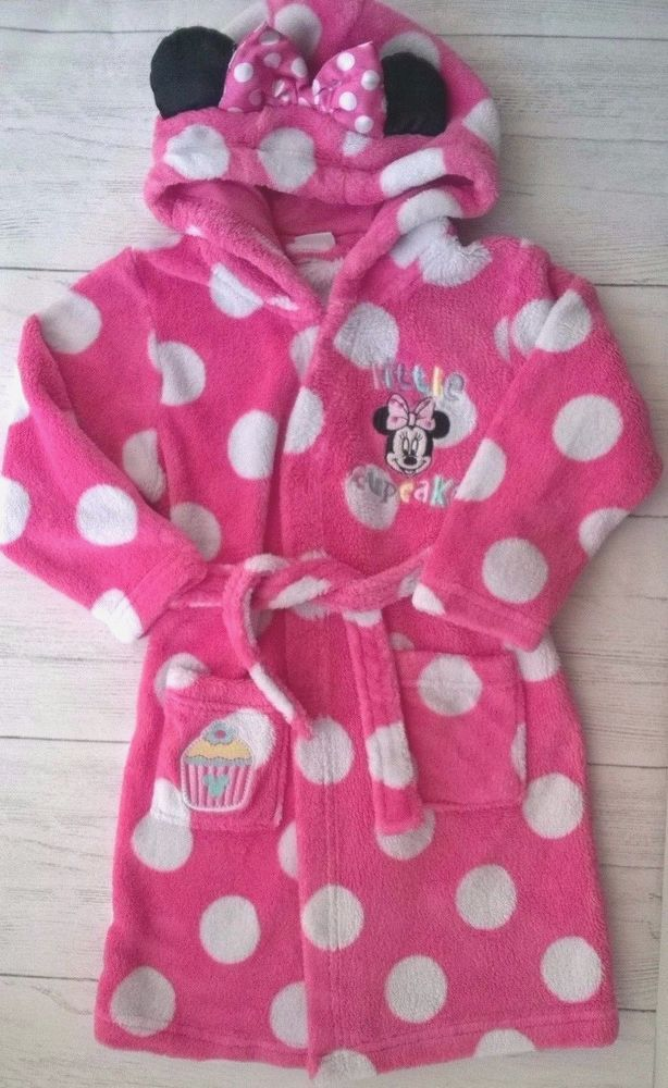 Girls Pink Minnie Mouse Little Cupcake Dressing Gown with Hood 3-4 ...