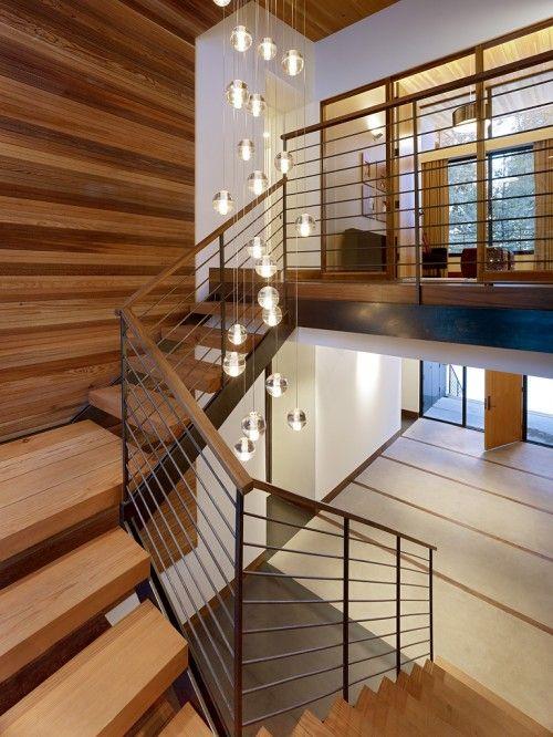 bocci fixture in stair case