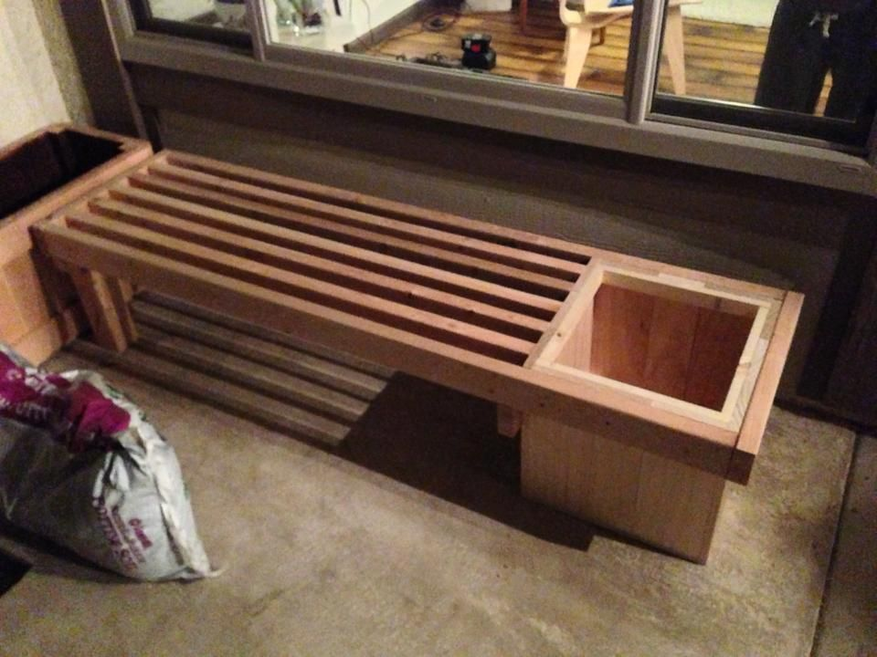 2x4 Bench With Planter Nice Bke Woodworking Bench