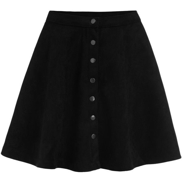 SheIn(sheinside) Black Buttons Flare Skirt ($15) ❤ liked on Polyvore featuring skirts, bottoms, black, saia, black flared skirt, flare skirt, black skirt, mini circle skirt and black skater skirt