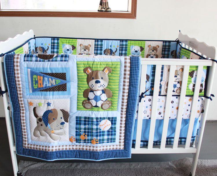Promotion! 7pcs Embroidery Baby Cot Bedding Set Cartoon Crib Bumper ...