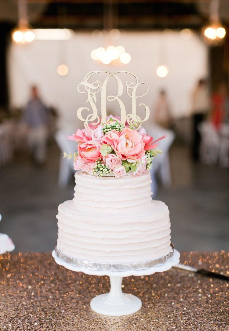 LOVE This Wedding Cake And Monogram Cake Topper!