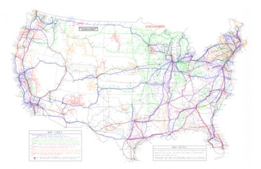 Map shows how to travel across America without a car