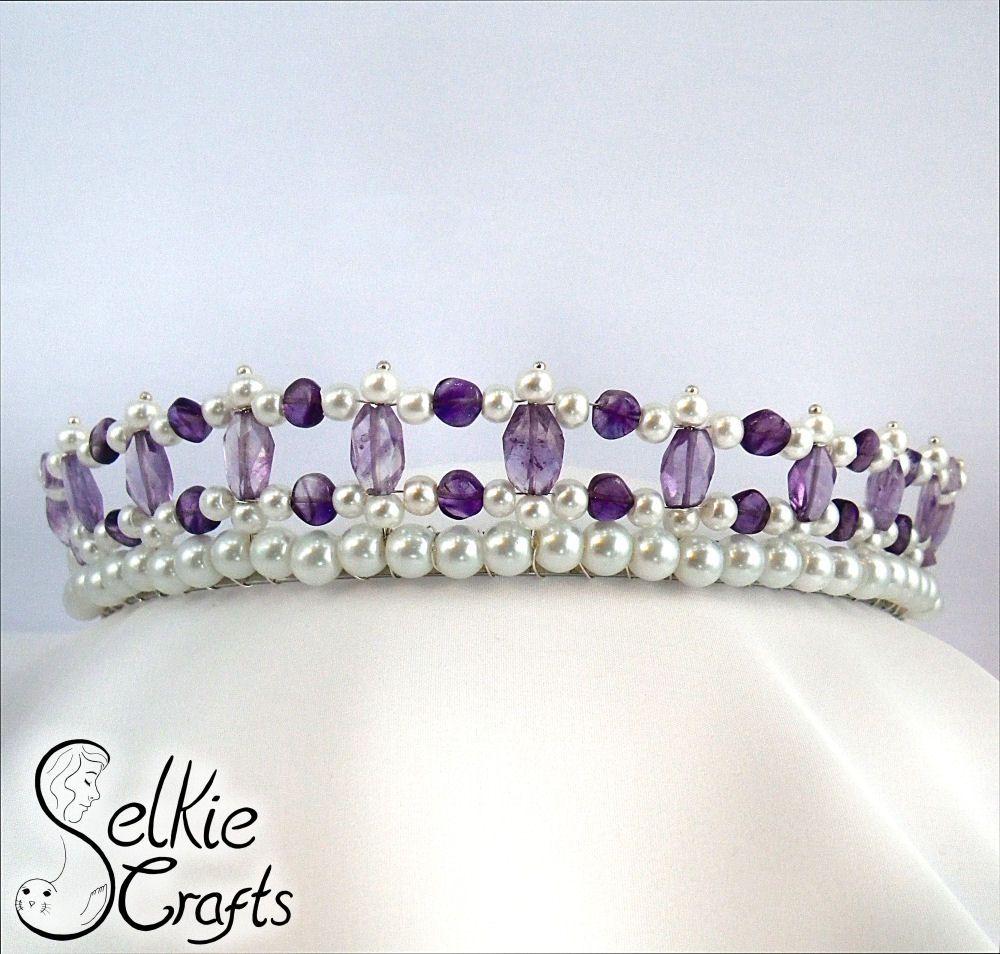 Amethyst And Pearl Wedding Tiara Bridal Purple Jewellery