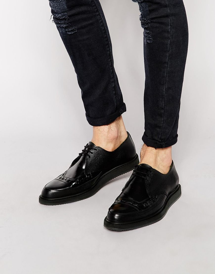 ASOS Brothel Creepers in Black Leather at asos.com