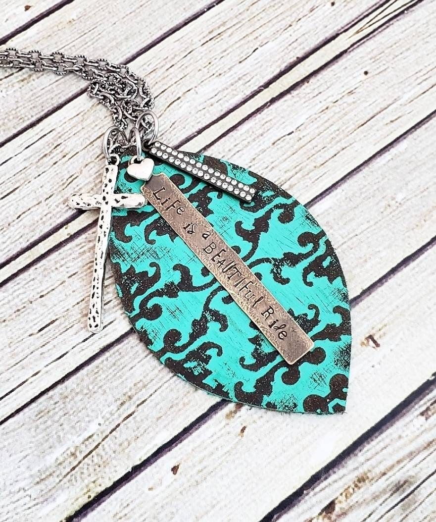 Photo of Leather Necklace, Turquoise Necklace, Hand Stamped Necklace, Life is a Beautiful Ride, Inspirational Jewelry, Hand Painted Necklace, Gift