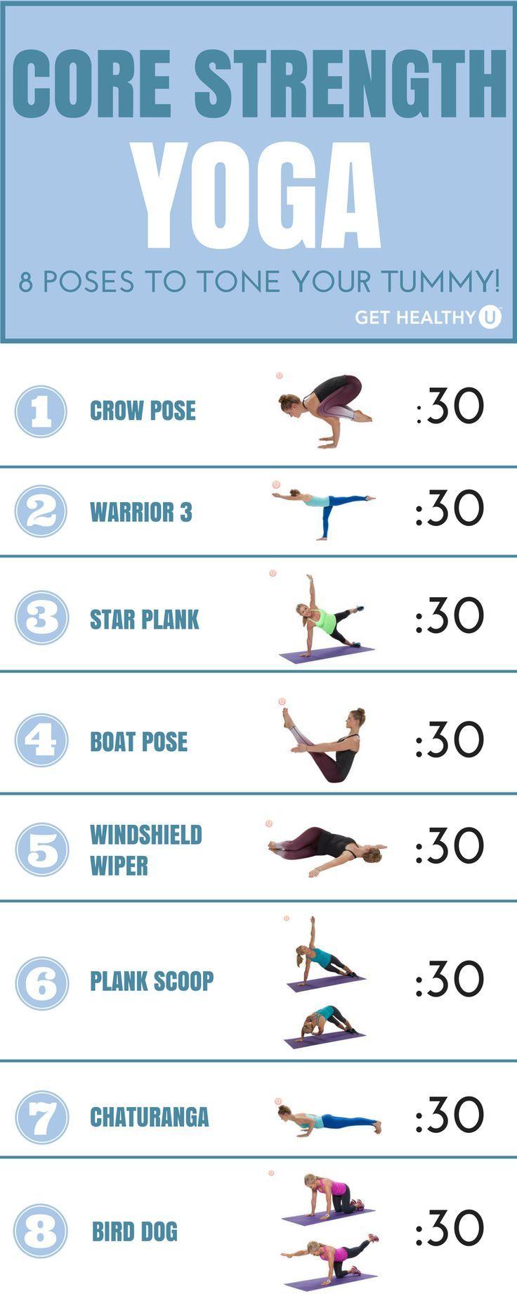 Yoga-Posen, die die Kernkraft betonen. Probiere sie nacheinander aus und halte ...