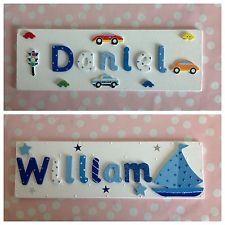 Wooden Name Plaque Door Wall Children BOYS Bedroom New Baby ...