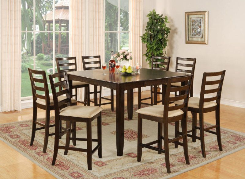 9 Pc Square Counter Height Dining Room Table 8 Chairs Vinos