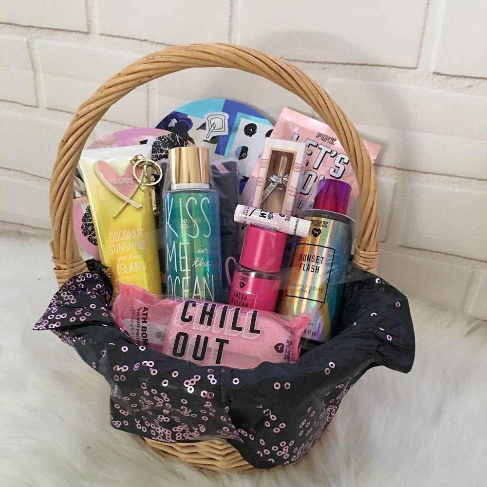 Ladys victorias secret pink gift basket mist lotion