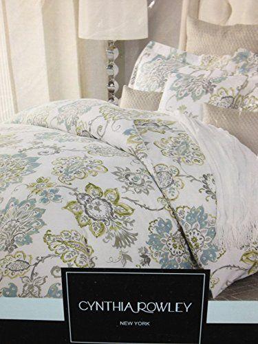 Cynthia Rowley Green Blue Grey Queen Full Duvet Cover Set Cotton