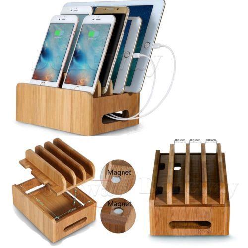 bambus lade station staender halterung dockingstation holz. Black Bedroom Furniture Sets. Home Design Ideas
