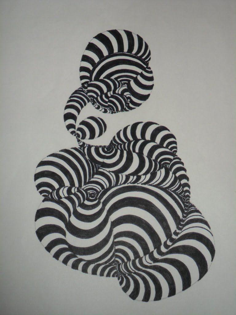 ABSTRACTO: Composición-Textura conformada por trazados curvos. Muy fácil...  | Abstracto, Texturas visuales, Dibujos
