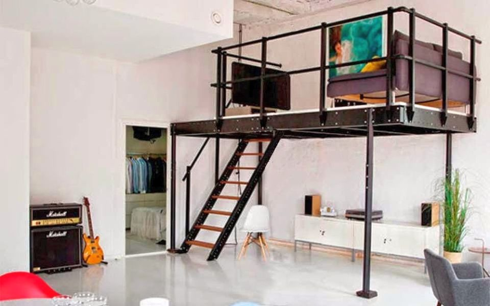 Adjustable Mezzanine By Tecrostar Adds Additional Space To Small Apartments Loft Bed Plans Straight Stairs Loft Spaces