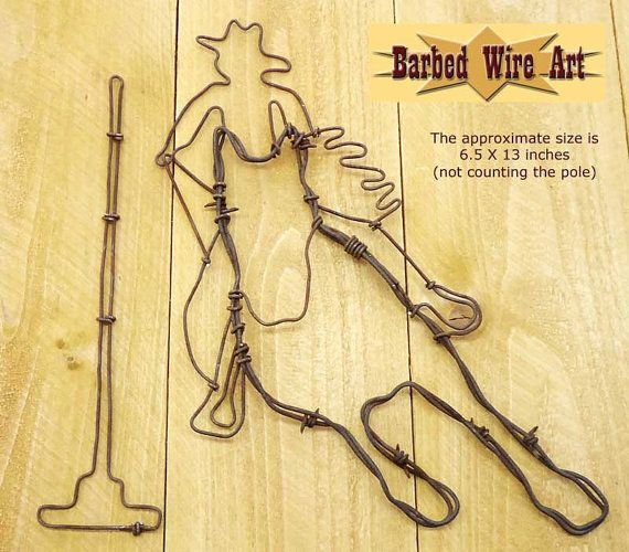 Pole Bender - Handmade metal decor barbed wire art country rodeo ...