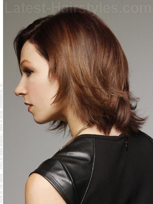 Medium Brown Flipped Bob Side View with Layers | Hair | Pinterest ...