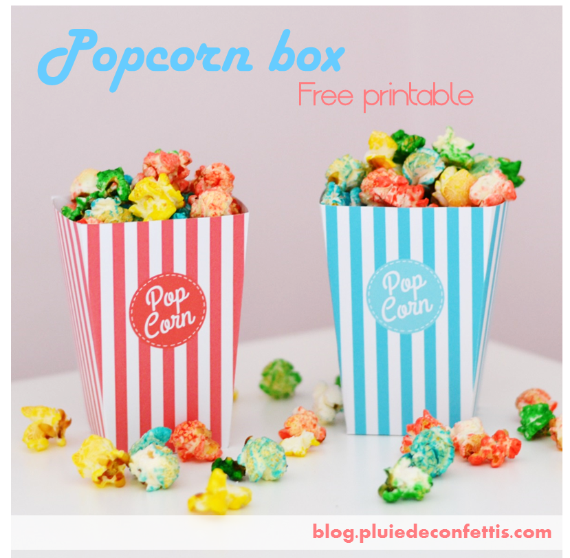 Popcorn box free printable on blog.pluiedeconfettis.com. As well in lignt blue and lignt pink