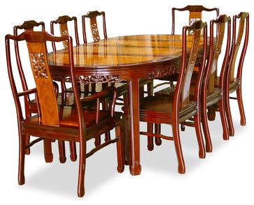 80in Rosewood Flower Design Oval Dining Table With 8 Chairs Asian