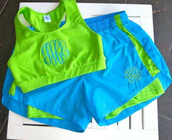 Monogrammed Running Shorts and Sports Bra by hadleyandfinn on Etsy, $44.00