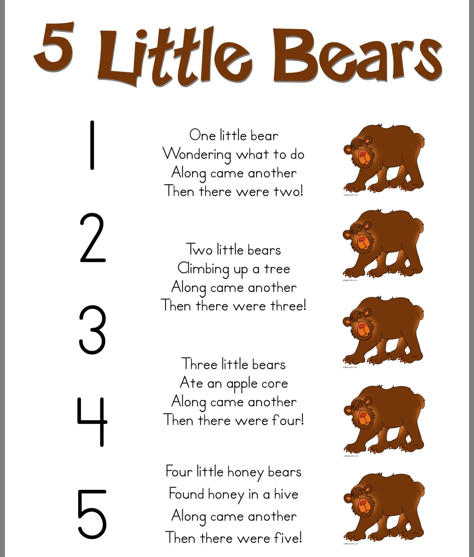 5 Little Bears Poem
