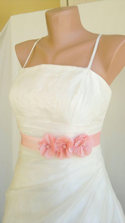 e965d23533e9b Handcraft Blush Pink Three Daisy Wedding Dress Bridal sash Belt. $38.50,  via Etsy.