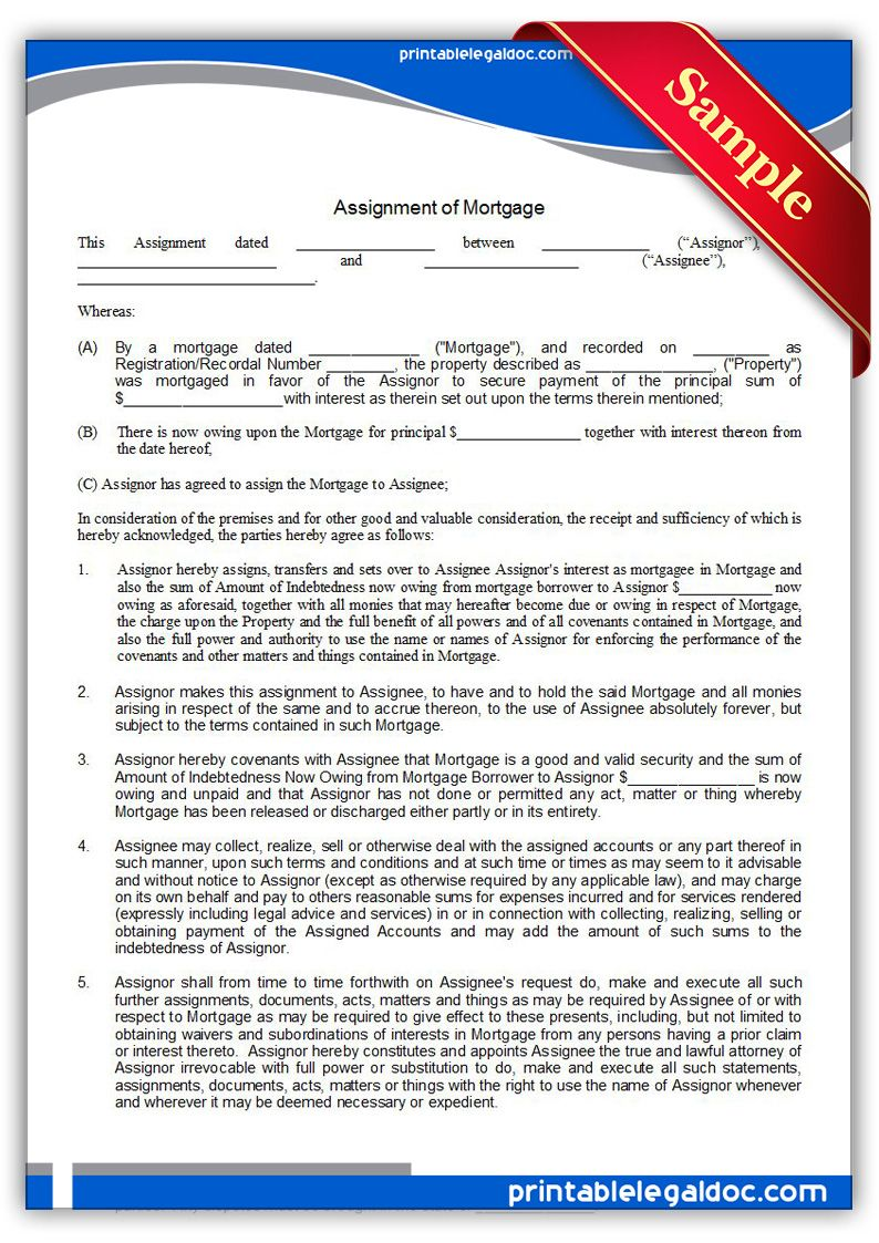 Free Printable Assignment Of Mortgage  Sample Printable Legal