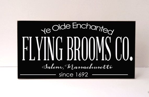 Halloween Wood Sign Flying Brooms Humorous by vinylcrafts on Etsy, $55.00