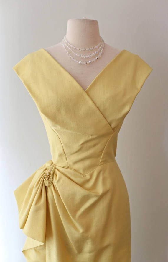 Vintage 1950s Jean Of California Yellow Silk Cocktail Dress