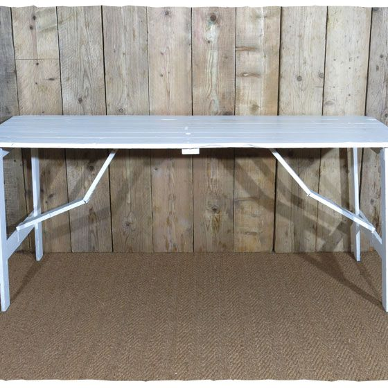 Rustic Wooden Trestle Tables With Fold Out Wooden Legs. Painted Matt White,  Dining
