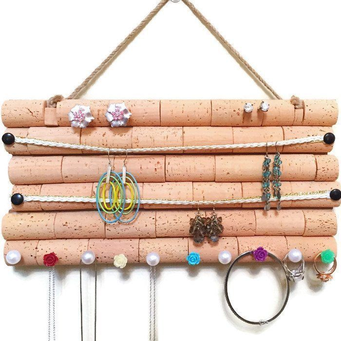 Wine Cork Jewelry Organizer a handmade jewelry hanger made out of