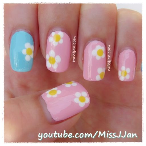 Toothpick Nail Art Designs: Easy Daisy Flower Nails (Using A Toothpick) Http://youtu