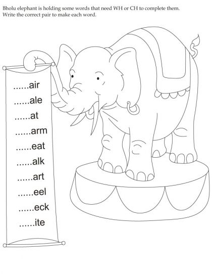Download english activity worksheet Bholu elephant is
