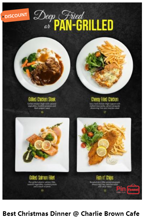 Christmas Dinner Menu Best Deal 2017 At Charlie Brown Cafe In Cineleisure Orchard Mall Singapore Choose From Ov Christmas Dinner Menu Charlie Brown Cafe Food
